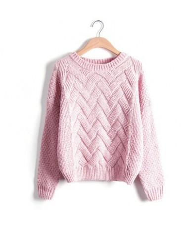 Winter O-neck Women's Sweater Jersey Woman Mohair Knitted Twisted Thick Warm Lady's Pullover 2019 College Jumper Women Pink ...