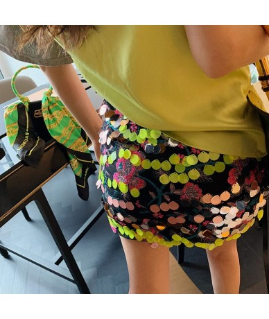 2019 summer New Fashion women's clothing High quality Slim was thin clothing Embroidered sequined skirt WI228 - flower colou...