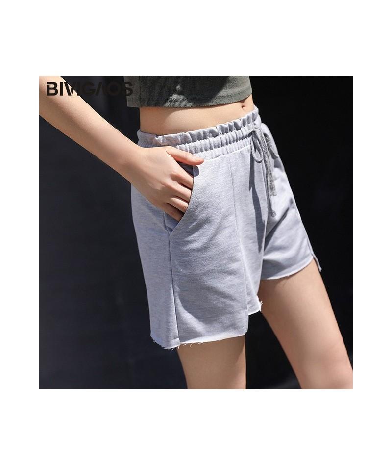 Summer New Korean Cotton Shorts Drawstring Lace-up Elastic Waist Cut Irregular Short Women Casual Slim Ladies Shorts - Light...