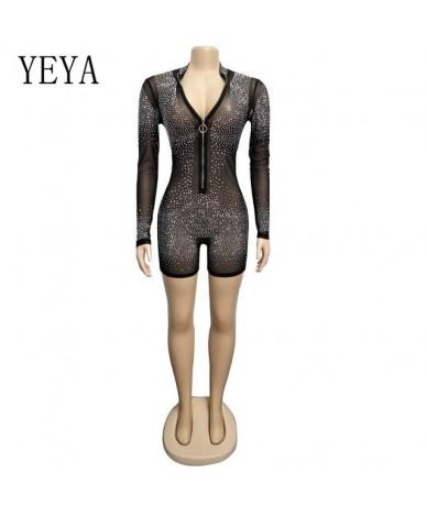 Sexy Flash Diamond Party Jumpsuits Women Transparent Mesh Bodycon Bandage Playsuits Elegant Long Sleeve Front Zipper Romper ...