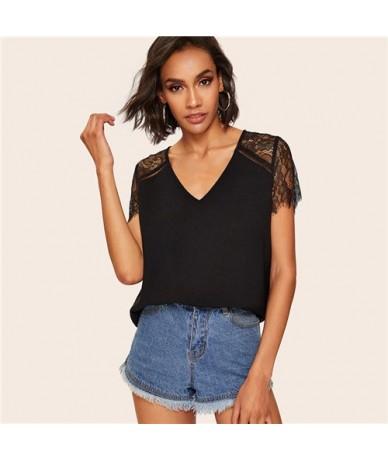 Casual V Neck Eyelash Lace Sleeve Blouse Women 2019 Summer Black Short Sleeve Blouses Ladies Solid Basic Top - Black - 4I412...