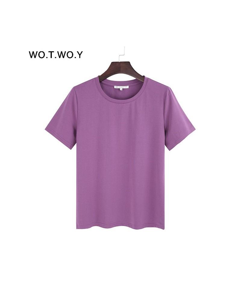 2018 Summer Cotton T Shirt Women Loose Style Solid Tee Shirt Female Short Sleeve Top Tees O-Neck T-shirt Women - 503purple -...