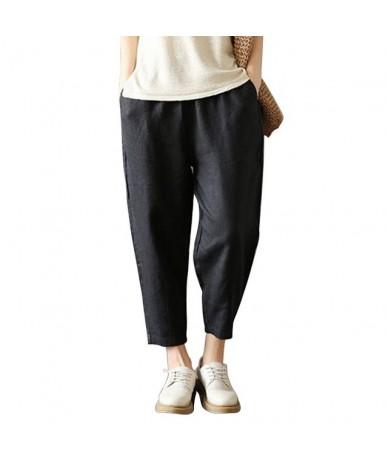 Women Casual Harem Pants Loose Trousers Women Elastic High Waist Casual Pants Office OL Pants Lady Pants Thin Summer - black...