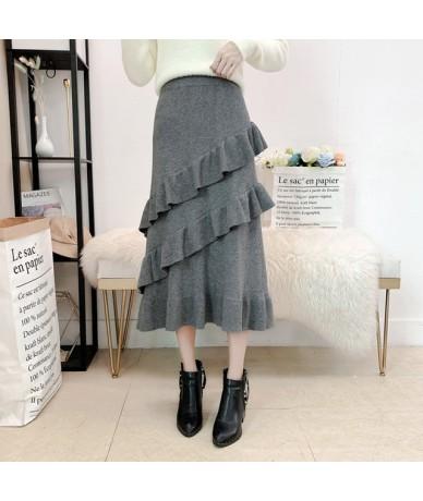 2019 Autumn Winter Long Knitted Skirt Women Elegant High Waist Multi-layer Ruffles Skirts Female Warm Hip Package faldas muj...