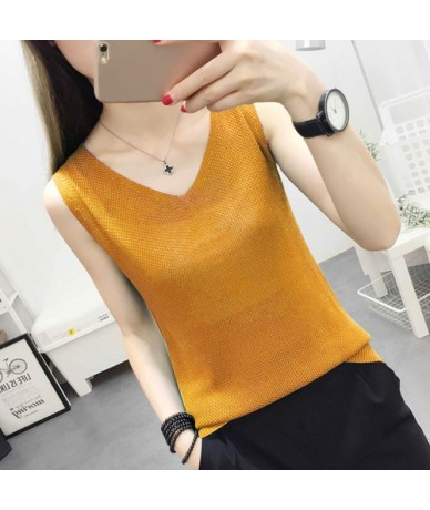 Spring Summer Tank Tops Women Sleeveless Knitted Loose Singlets Camisole Loose T Shirt Ladies Vest Cotton Slim Ladies Thin V...