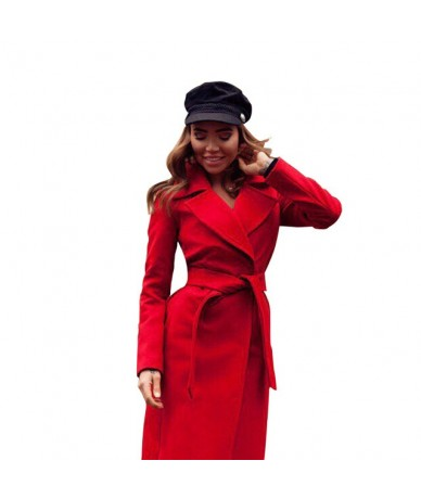 Women's Jackets & Coats Medium-long Belt Wool & Blends Coat Turn-down Collar Solid Color Pockets Parka - Red - 403859446847-4