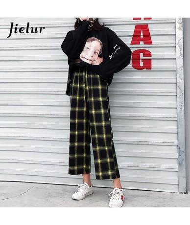 Ulzzang Korean Pants Women 2019 Harajuku Hip Hop Hipster Loose Wide Leg Pants Black Plaid Pantalon Femme Streetwear M-XL - Y...