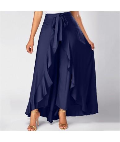 Womens summer Grey Side Zipper Tie casual Wild skirts Front Overlay Pants Ruffle Skirt Bow Long Skirt 9321 - Navy - 4N300539...