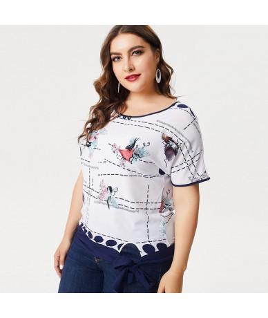 2019 Summer Plus Size womens Chiffon tops and blouses fashion ladies Print elegant femalet-shirt - White - 4N4126189890