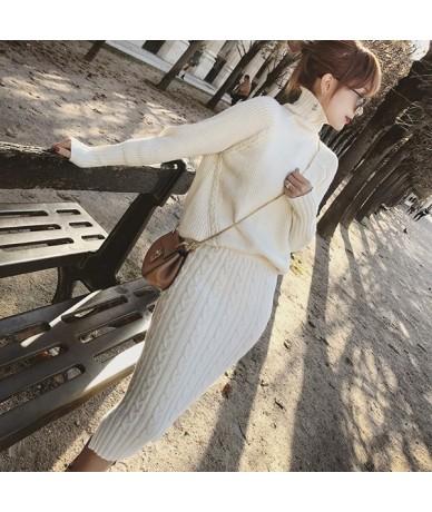 Twist Knitted 2 Piece Set Women Long Sleeve Turtleneck Pullover Sweater + Split Pencil Skirt Set Lady Runway Knitting Skirt ...