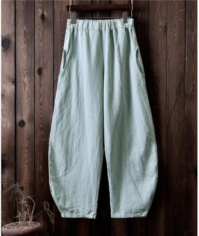 Women Cotton Linen Harem Pants Autumn Loose Trouser 2019 New Elastic Waist Solid Color Vintage Plus Size Women Pants - Pea g...