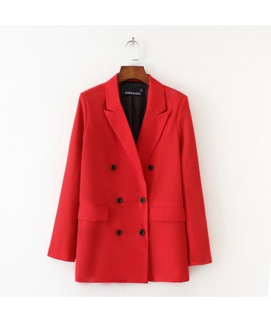 Solid Red Blazer Women Solid Outerwear Lady Fashion OL Classic Collar Double Breasted Suit Jackets Long Basic Outerswear - r...