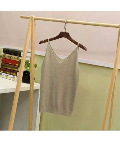 2019 Sexy Knitted Top Tank Women V Neck Sleeveless Vest T Shirt Summer Ladies Slim Strap Short Tops Roupas Femininas - Khaki...