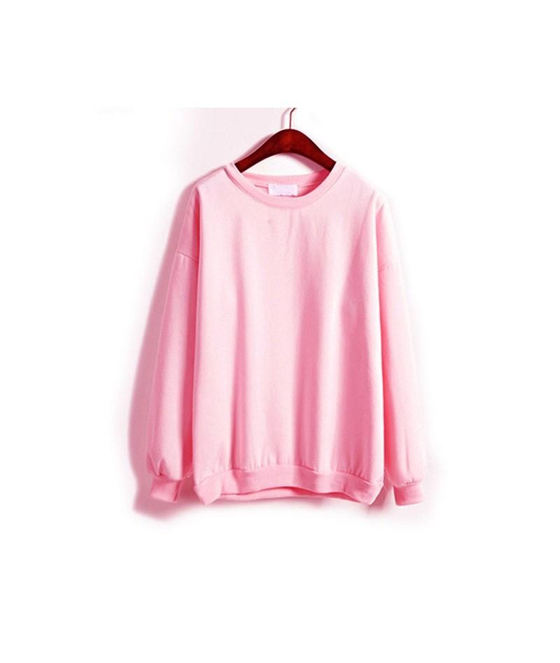 Autumn Winter Women Fleeve Hoodies Solid Casual Sweatshirt Loose Tracksuit Pullover Tops GDD99 - Sky Blue - 454159051239-3