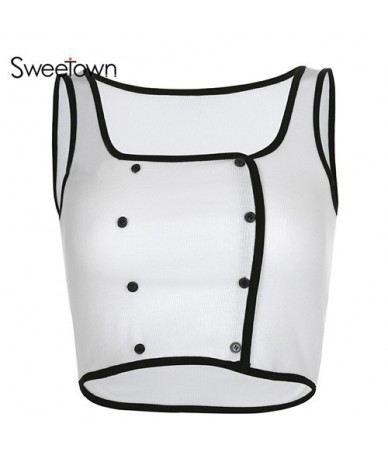White Contrast Color Button Tank Top Women Fitness Clothing Square Collar Sleeveless Sexy Crop Top Holiday Clothes - white -...
