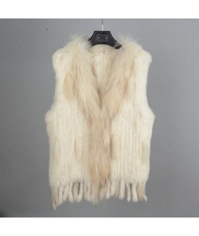 Women Fashion Fur Vests Real Rabbit Fur With Raccoon Fur Collar Gilet Winter Warm Waistcoat S1700 - Cream - 4Q3834568396-5
