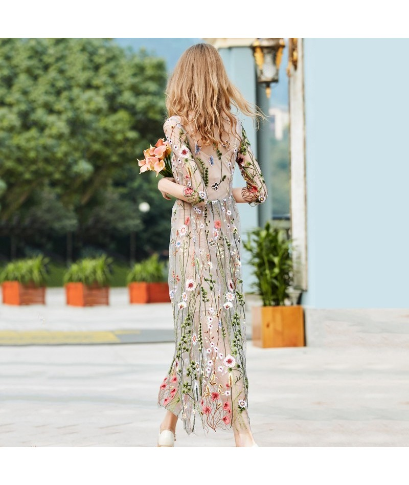 Lace Flower Embroidery Mesh Dress Sexy O Neck Slim Lady Summer Girl Clothing Two Pieces Set - 483933640496