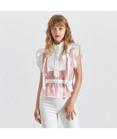 Striped Sleeveless Women Blouse Stand Collar Off Shoulder Bandage Tunic Shirt Female Fashion Clothes 2019 Summer - pink - 49...