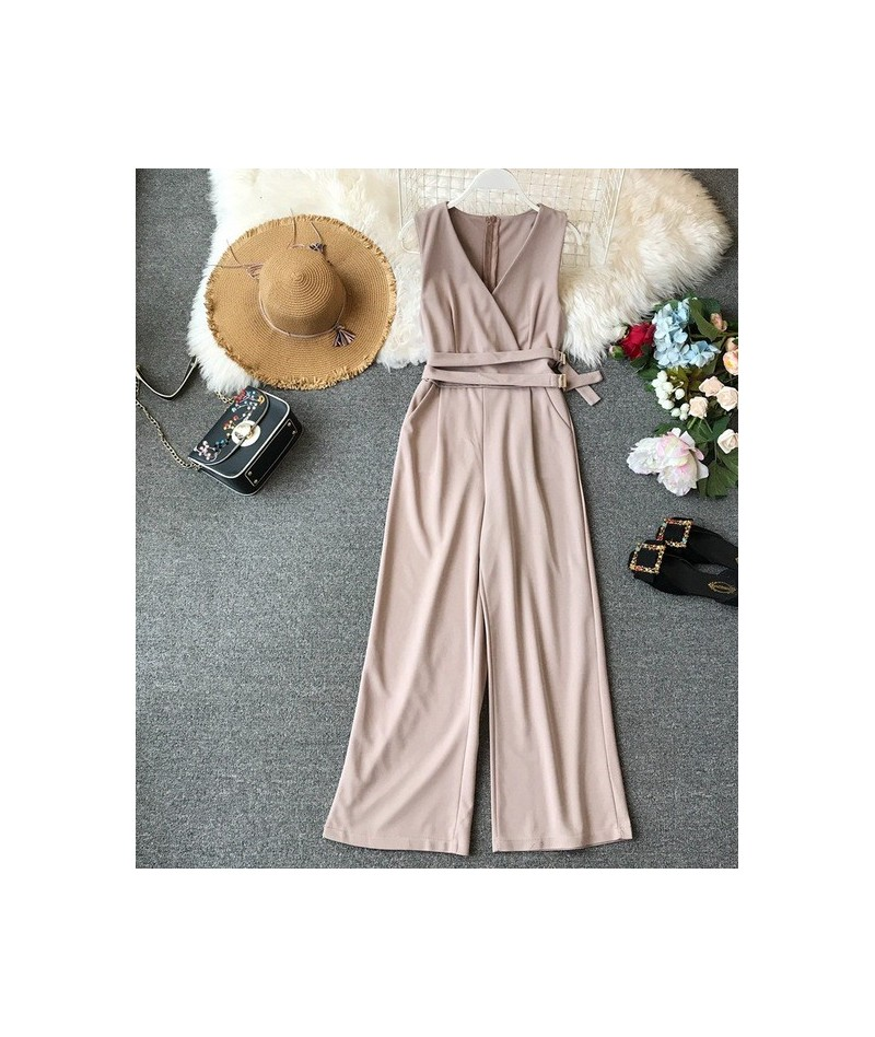 2019 Spring Ladies Sleeveless Solid Jumpsuits V-neck High Waist Sashes Women Casual Wide Leg Rompers - Beige - 4Z3077019284-1