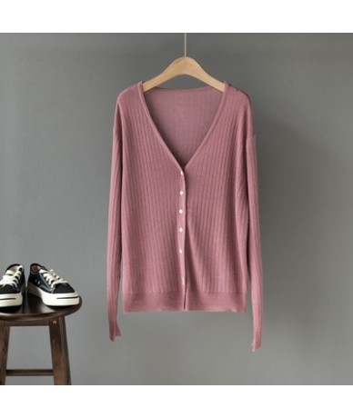 2019 New Autumn Women Knitting T Shirts Long Sleeve V Neck Solid Loose Casual Cardigans Woman Soft Knitted Tees Tops - Purpl...