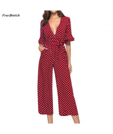 Clothes Jumpsuit Women Polka Dot Printed V-neck Wide Leg Pants Long Jumpsuit Bandage Playsuits Rompers Jumpsuit - Red - 4B41...