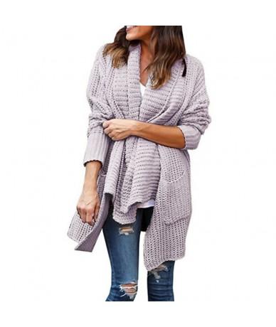 2019 Knitwear Loose Large size Double pocket Irregular Lapel Sweater Cardigan Women S/M/L/XL/XXL/XXXL - Purple - 4H3050488614-7