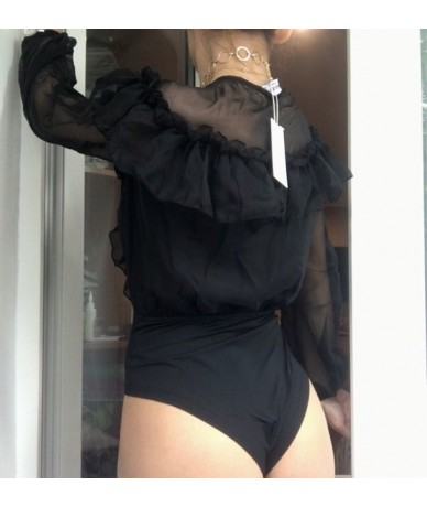Sexy Bodysuit Women Long Sleeve Ruffles Body Top Deep V Neck Bodysuit For Women Autumn Rompers Womens Jumpsuits - Black - 5J...