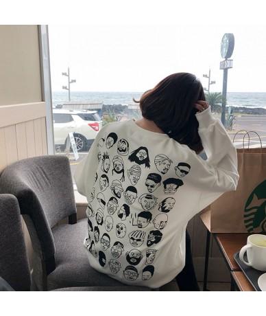 2 colors 2019 spring korean style back cartoon print long-sleeve pullover thin sweatshirts womens (F3581) - Black - 4R307850...
