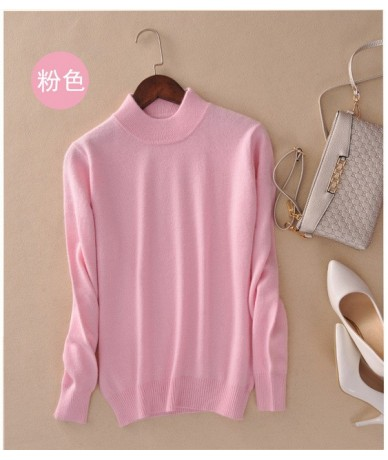 Fashion Cashmere Blended Knitted Sweater Women Tops Autumn Winter Turtleneck Pullovers Female Long Sleeve Solid Color - pink...