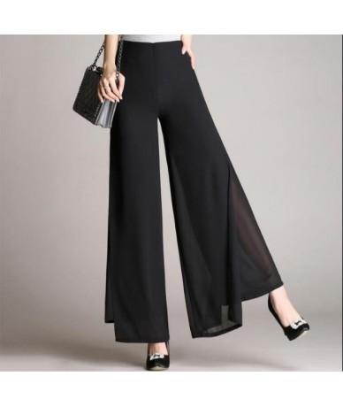 2019 New Fashion Women's Summer High Waist Double Layer Chiffon Wide Leg Pants Casual Trousers Flares Skirt Pants RQ81 - Bla...