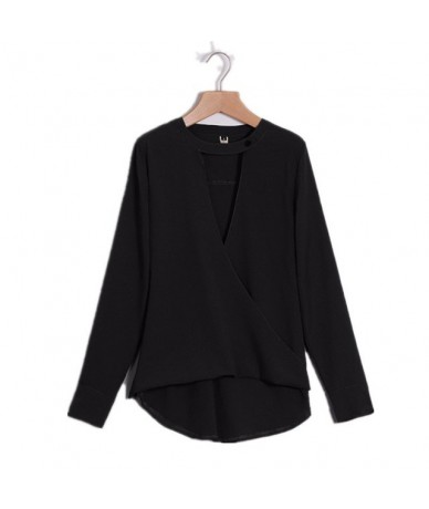2019 Autunmn Ladies Casual Solid Top Blouse Blusas Feminina Long Sleeve Sexy Cut Out Deep V Neck Button Pullover Shirts - Bl...