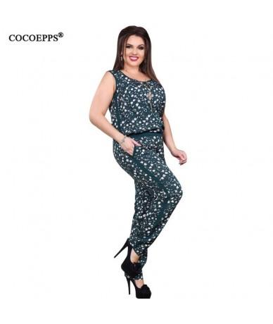 5XL 6XL 2019 Plus Size Casual Women Jumpsuit Summer Flower print Sleeveless Romper Big Large Size Jumpsuit Fashion Long Jump...