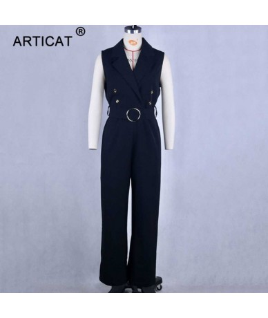 2019 Sleeveless Sexy Women Wide Leg Long Jumpsuit Office Lady Suit Sexy Rompers Womens Jumpsuit Sashes Elegant Overalls - Bl...