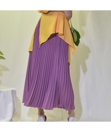 Women Maxi Skirts 2019 Spring Elastic High Waist Pleated Skirt Black Yellow Length 90cm Vintage Womens Long Skirt - Purple -...