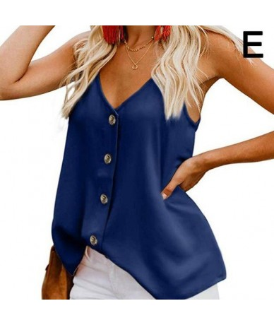 Womens Sleeveless Tank Top Button Down Sexy V-neck Strappy Tank Top Boho Solid Chiffon Loose Casual Camisole Backless Vest S...