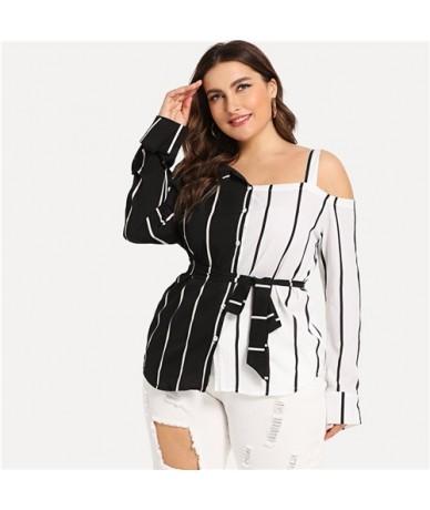 Plus Size Burgundy Striped Open Shoulder Blouse Shirt Women Clothing 2019 Spring Long Sleeve Shirts Elegant Ladies Tops - Bl...