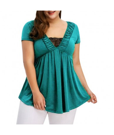Women's Large Size Blouse Fashion Solid Color Lace Stitching Short-Sleeved Blouse Summer Tops For Women 2019 - Green - 49415...