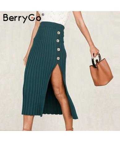 Sexy buttons split women knitted skirt Elegant female bodycon midi skirt bottoms Casual High waist ladies pleated skirts - G...