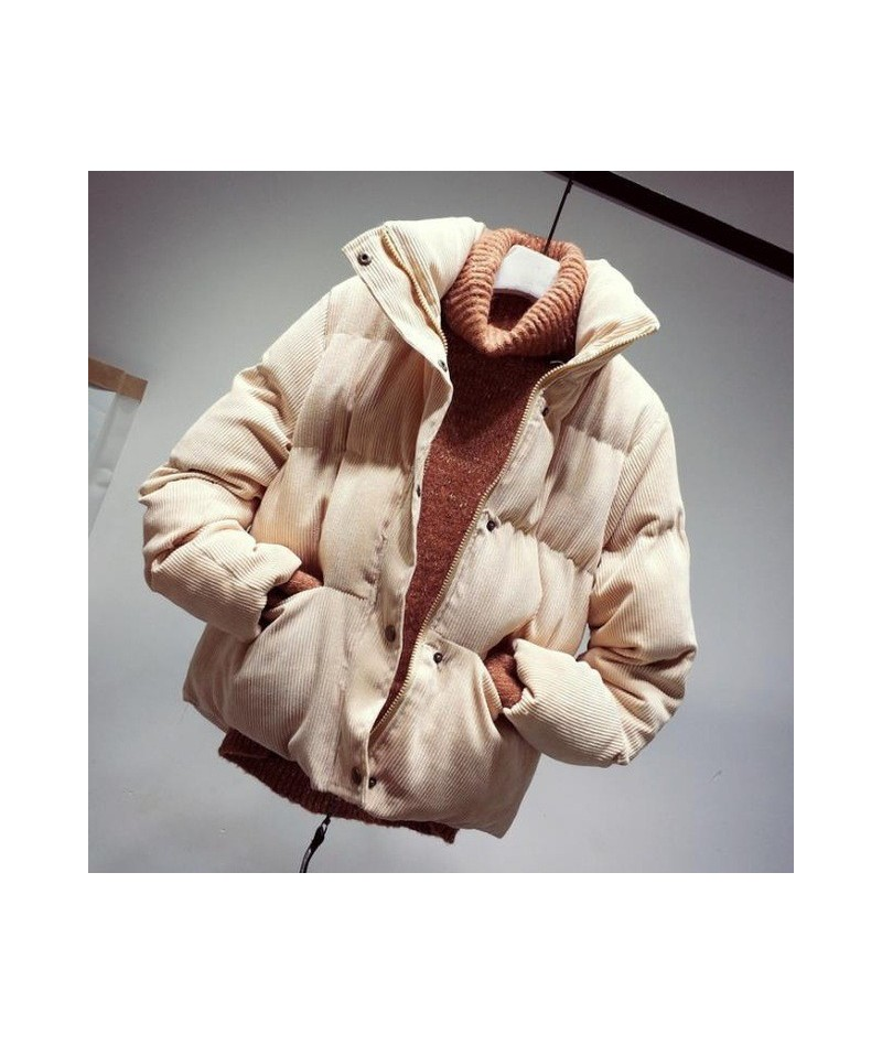 Fashion Autumn Winter Corduroy Jacket Women Loose Thick Cotton Down Parkas Padded Coat Female Slim Short Jackets Outwear SF1...