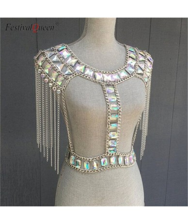 crystal gem metal chain patchwork tank top mini skirts sets women tassel backless nightclub party 2 pieces set - silver bott...