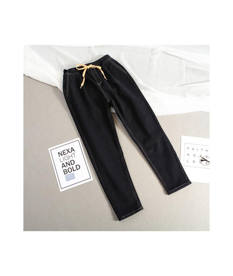 Plus Size 5XL Winter Plus Velvet Warm Jeans Woman Drawstring High Waist Jeans Denim Long Pants Vintage Women Harem Jeans C38...