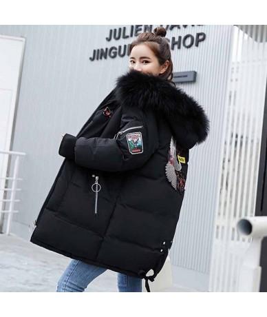 2018 Winter Jacket Women Plus Size Fur Collar Hooded Cotton Coat Parka Female Long Slim Quilted Jackets Zipper Warm Outwear ...