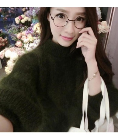 2019 Winter New Fashion Thickened Warm Turtleneck Mohair Female Sweater Lantern Sleeve Casual Solid Color Slim Simple Pullov...
