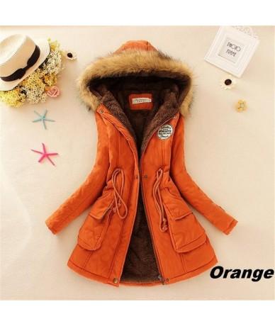 Parkas Female Women Winter Coat Thickening Cotton Winter Jacket Womens Outwear Parkas for Women Winter Y14 - Orange - 4R3045...