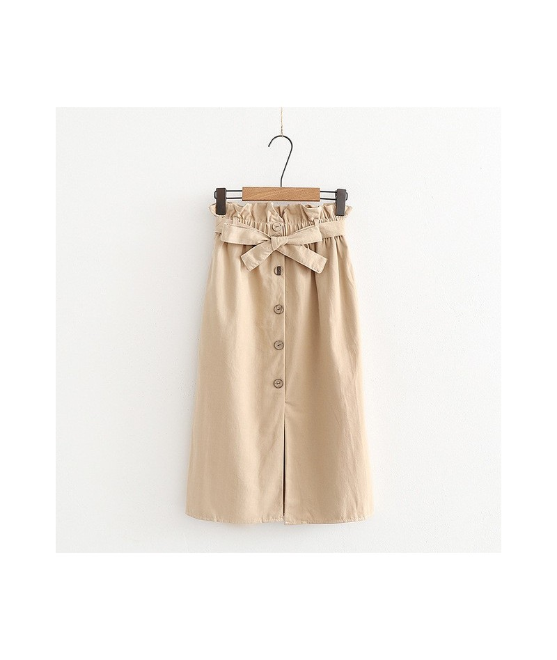 Solid Button Pockets Bow Skirts Casual Ladies Bottoms Stylish Skirts 2019 Summer Spring Autumn Hot Sale For Women - Apricot ...