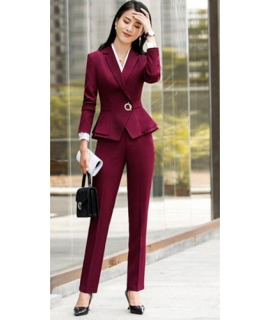 High quality winter suit for women two pieces set formal long sleeve slim blazer and trousers office ladies plus size work w...