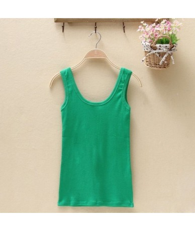 Women Summer Tank Tops Women Sleeveless O Neck Loose T Shirt Ladies Vest Camisole Cotton Slim Tanks Clothings - green - 4B30...