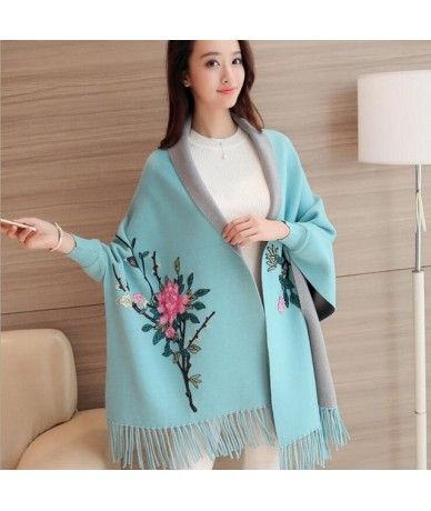 2019 Women's Sweaters For Winter Female Cardigan Leisure Long Sleeve Slim Thin Out jacket Long section Tops - Sky Blue - 403...