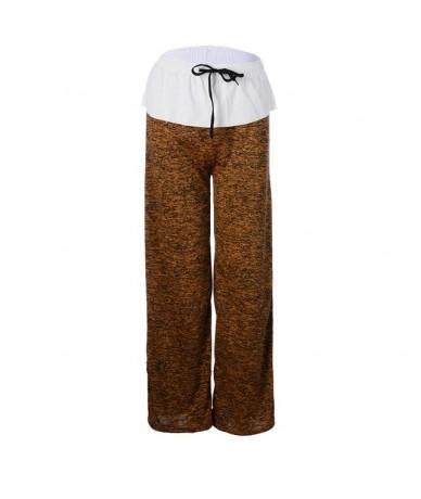 Women Loose Pants Casual Solid Drawstring Wide Leg Pants Female Plus Size Fashion Long Trousers Sweatpants Pajama - Yellow -...
