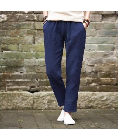 New 2019 Autumn women cotton linen pantscomfortable brand pleated casial pencil pantsplus size Spring plus size trouser M-7X...